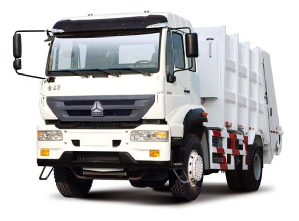 The front of garbage truck made by Sinotruk