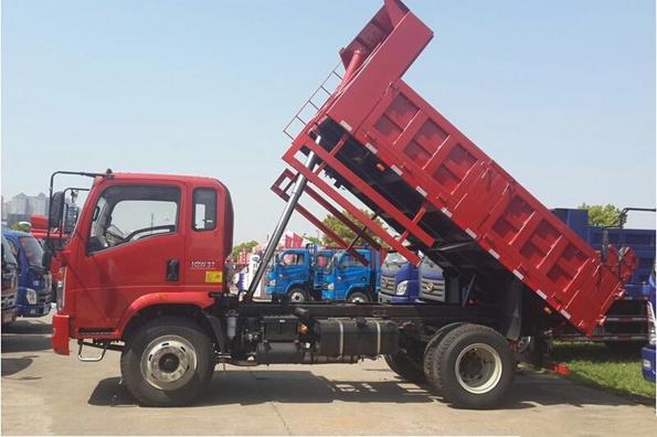 A dump truck in operation